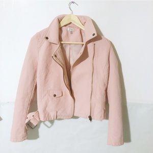 Tobi Faux Leather Pink Zip Up Pocket Jacket sz SP